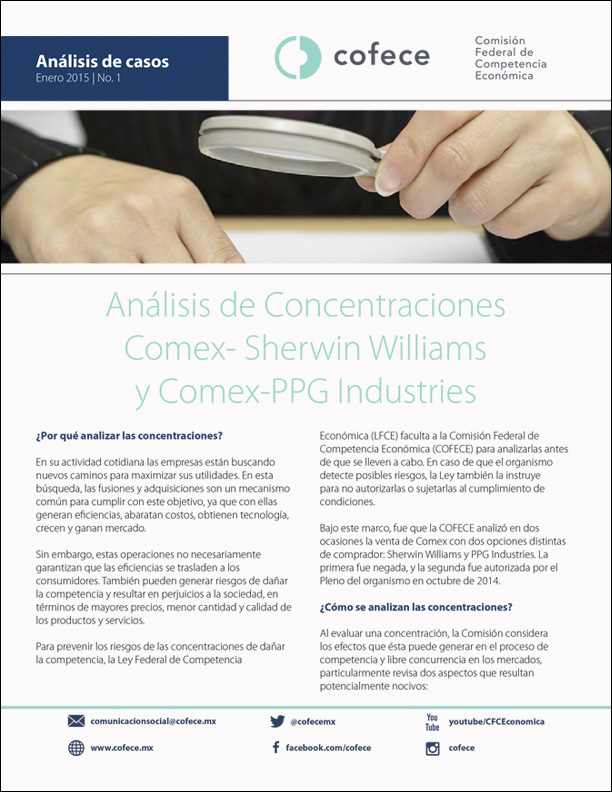 Concentración entre COMEX- Sherwin Williams y COMEX- PPG Industries